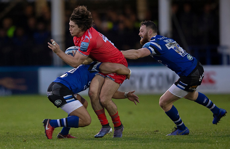 Sale Sharks' James O'Connor in action during todays match<br /> <br /> Photographer Bob Bradford/CameraSport<br /> <br /> Gallagher Premiership Round 9 - Bath Rugby v Sale Sharks - Sunday 2nd December 2018 - The Recreation Ground - Bath<br /> <br /> World Copyright &copy; 2018 CameraSport. All rights reserved. 43 Linden Ave. Countesthorpe. Leicester. England. LE8 5PG - Tel: +44 (0) 116 277 4147 - admin@camerasport.com - www.camerasport.com