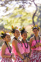 Young hula dancers at a recital in Waimea Valley on O'ahu.