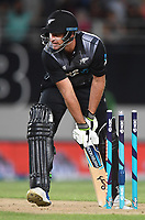 Colin de Grandhomme is stumped.<br /> Pakistan tour of New Zealand. T20 Series.2nd Twenty20 international cricket match, Eden Park, Auckland, New Zealand. Thursday 25 January 2018. &copy; Copyright Photo: Andrew Cornaga / www.Photosport.nz