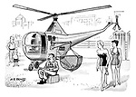 (Beach scene with two young women looking at the life guard who sits in front of a helicopter with a basket scoop for rescuing swimmers)