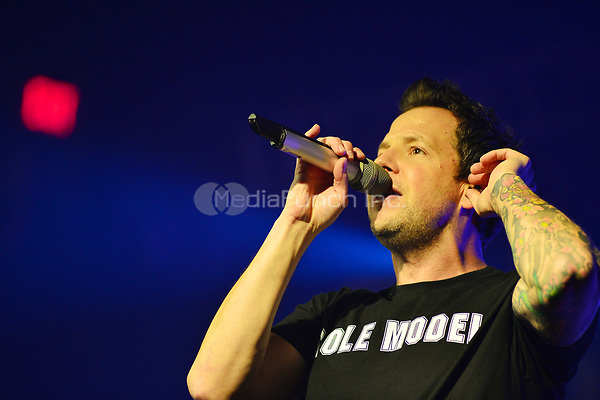 FORT LAUDERDALE FL - MARCH 19: Pierre Bouvier of Simple Plan performs during Simple Plan - No Pads, No Helmets...Just Balls 15TH Anniversary Tour at Revolution Live on March 19, 2017 in Fort Lauderdale, Florida. Credit: MPI10 / MediaPunch