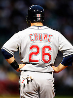 August 7, 2009:  Left Fielder Trevor Crowe (26) of the Cleveland Indians at first base during a game vs. the Chicago White Sox at U.S. Cellular Field in Chicago, IL.  The Indians defeated the White Sox 6-2.  Photo By Mike Janes/Four Seam Images