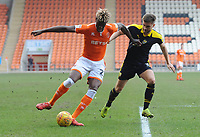 Blackpool's Armand Gnanduillet under pressure from Oxford United's Luke Garbutt<br /> <br /> Photographer Kevin Barnes/CameraSport<br /> <br /> The EFL Sky Bet League One - Blackpool v Oxford United - Saturday 23rd February 2019 - Bloomfield Road - Blackpool<br /> <br /> World Copyright © 2019 CameraSport. All rights reserved. 43 Linden Ave. Countesthorpe. Leicester. England. LE8 5PG - Tel: +44 (0) 116 277 4147 - admin@camerasport.com - www.camerasport.com