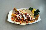 California, San Diego.  Fish taco at Tin Fish restaurant on Imperial Beach Pier.  Photo #: casand106.  Photo copyright Lee Foster, 510/549-2202, lee@fostertravel.com, www.fostertravel.com