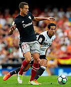 1st October 2017, Mestalla, Valencia, Spain; La Liga football, Valencia CF versus Athletic Bilbao; Vesga (L) of Athletic Club de Bilbao competes for the ball with Dani Parejo of Valencia CF