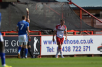 Second yellow card for Johnny Hunt of Stevenage during Stevenage vs Tranmere Rovers, Sky Bet EFL League 2 Football at the Lamex Stadium on 4th August 2018