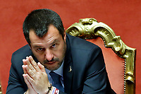 Matteo Salvini<br /> Rome March 20th 2019. Senate vote on the immunity from prosecution for the Minister of Internal Affairs Matteo Salvini.  Last August 20th a ship, carrying 177 migrants (among them many minors) docked in the harbour of Catania but Minister Salvini took the decision to block migrants of Diciotti ship at sea. For that reason the magistracy accused the minister of kidnapping.<br /> Foto Samantha Zucchi Insidefoto