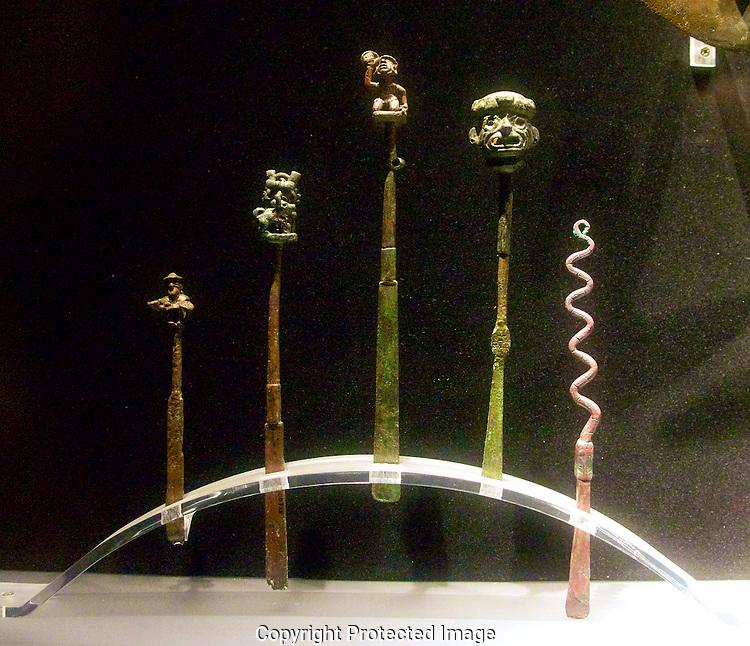 Various tumis. Incan weapons. Larco Museum.Lima, Peru
