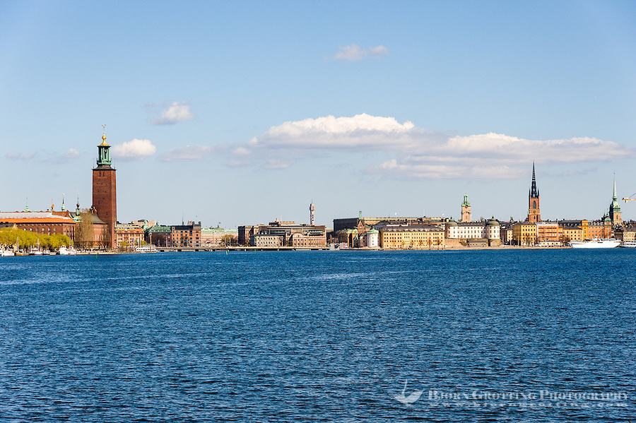 Sweden, Stockholm. Stockholm with the City Hall seen from Långholmen.
