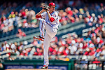 30 July 2017: Washington Nationals pitcher Erick Fedde delivers his first pitch as a major leaguer to open the game against the Colorado Rockies at Nationals Park in Washington, DC. The Rockies defeated the Nationals 10-6 in the second game of their 3-game weekend series. Mandatory Credit: Ed Wolfstein Photo *** RAW (NEF) Image File Available ***