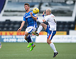 Kilmarnock v St Johnstone...19.09.15  SPFL Rugby Park, Kilmarnock<br /> Chris Millar battles with Jamie Hamill<br /> Picture by Graeme Hart.<br /> Copyright Perthshire Picture Agency<br /> Tel: 01738 623350  Mobile: 07990 594431