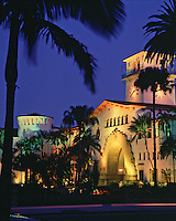 Exterior, evening view of the illuminated Santa Barbara County Courthouse. Santa Barbara, California.