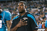 December 05, 2011:  Jacksonville Jaguars interim head coach Mel Tucker hold his hand on his heart during the playing of the National Anthem prior to the start of action between the Jacksonville Jaguars and the San Diego Chargers played at EverBank Field in Jacksonville, Florida.  ........
