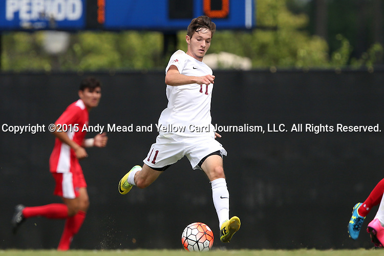 30 August 2015: Elon's Luis Argudo. The Elon University Phoenix played the Saint Mary's College Gaels at Koskinen Stadium in Durham, NC in a 2015 NCAA Division I Men's Soccer match. Elon won the game 1-0.
