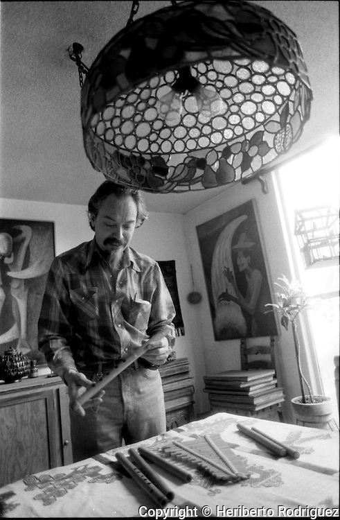 Archive photo of Mexican folk music player Rene Villanueva poses for a photograph in his home in Mexico City, April 3, 1993 .  © Photo by Heriberto Rodriguez