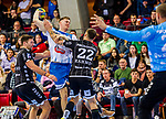 Loenn, Adam (TVB Stuttgart #11) / Ole Rahmel, (THW Kiel #22) / Harald Reinkind, (THW Kiel #6) / TVB 1898 Stuttgart - THW Kiel / DHB Pokal Viertelfinale / HBL / 1.Handball-Bundesliga / SCHARRrena / Stuttgart Baden-Wuerttemberg / Deutschland beim Spiel im DHB Pokal Viertelfinale, TVB 1898 Stuttgart - THW Kiel.<br /> <br /> Foto © PIX-Sportfotos *** Foto ist honorarpflichtig! *** Auf Anfrage in hoeherer Qualitaet/Aufloesung. Belegexemplar erbeten. Veroeffentlichung ausschliesslich fuer journalistisch-publizistische Zwecke. For editorial use only.