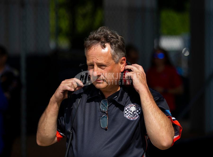 May 4, 2018; Commerce, GA, USA; Doug Kuch crew chief for NHRA top fuel driver Mike Salinas during qualifying for the Southern Nationals at Atlanta Dragway. Mandatory Credit: Mark J. Rebilas-USA TODAY Sports