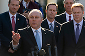 United States House Minority Whip Steve Scalise (Republican of Louisiana), standing with Republican members of Congress speak to the media after meeting with United States President Donald J. Trump  at the White House in Washington, DC, March 26, 2019. Credit: Chris Kleponis / CNP