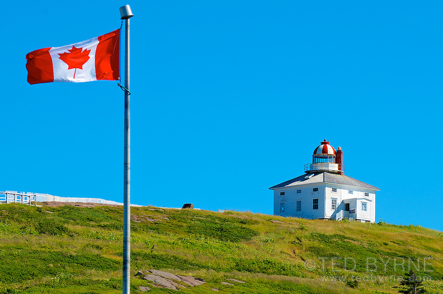 Cape Spear lighthouse with Canadian Flag