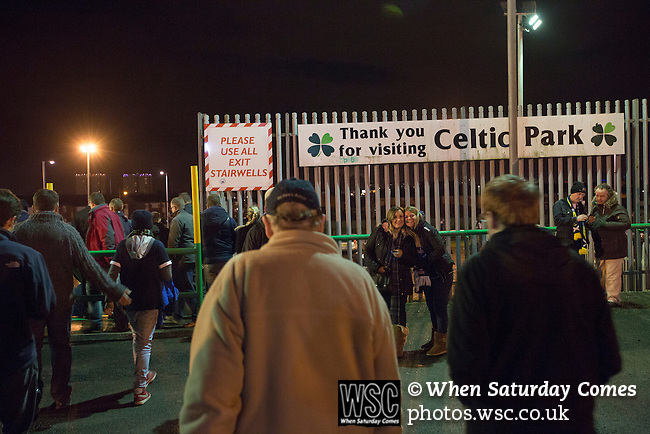 Scotland 1 Republic of Ireland 0, 14/11/2014. Celtic Park, European Championship qualifying. Spectators making their way out of the stadium at the conclusion of the European Championship qualifying match between Scotland and the Republic of Ireland at Celtic Park, Glasgow. Scotland won the match by one goal to nil, scored by Shaun Maloney 16 minutes from time. The match was watched by 55,000 at Celtic Park, the venue chosen to host the match due to Hampden Park's unavailability following the 2014 Commonwealth Games. Photo by Colin McPherson.