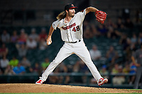 Rochester Red Wings relief pitcher John Curtiss (48) delivers a pitch during a game against the Lehigh Valley IronPigs on June 30, 2018 at Frontier Field in Rochester, New York.  Lehigh Valley defeated Rochester 6-2.  (Mike Janes/Four Seam Images)