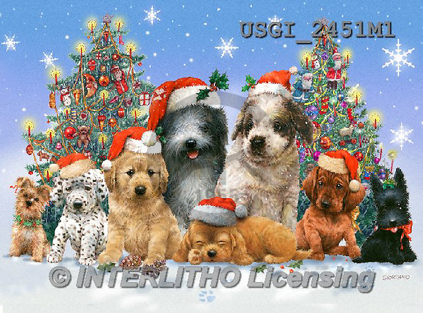 GIORDANO, CHRISTMAS ANIMALS, WEIHNACHTEN TIERE, NAVIDAD ANIMALES,dogs,puzzles, paintings+++++,USGI2451M1,#XA#