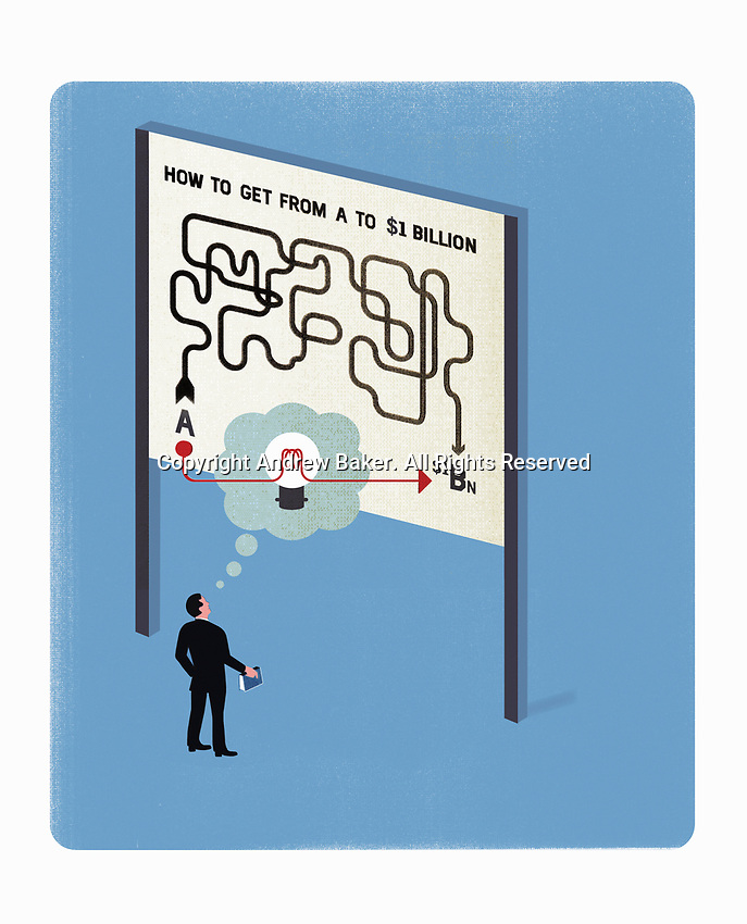 Businessman looking at map leading the way to 1 billion dollarExclusiveImage