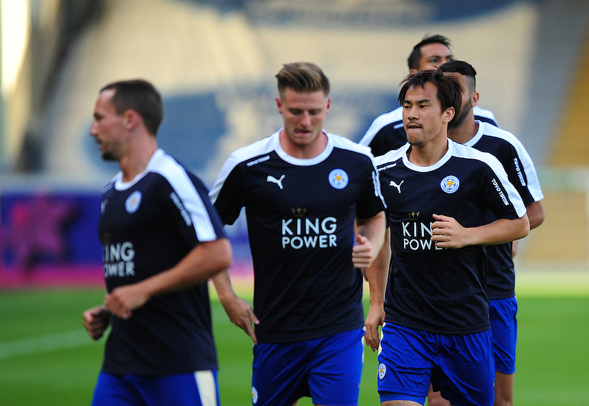 Leicester City&rsquo;s Shinji Okazaki, third in from left, during the pre-match warm-up <br /> <br /> Photographer Chris Vaughan/CameraSport<br /> <br /> Football - Football Friendly - Lincoln City v Leicester City - Tuesday 21st July 2015 - Sincil Bank - Lincoln<br /> <br /> &copy; CameraSport - 43 Linden Ave. Countesthorpe. Leicester. England. LE8 5PG - Tel: +44 (0) 116 277 4147 - admin@camerasport.com - www.camerasport.com
