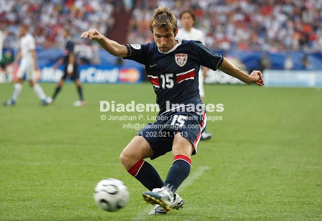 GELSENKIRCHEN, GERMANY - JUNE 12:  Bobby Convey of the United States shoots the ball during a FIFA World Cup soccer match against the Czech Republic June 12, 2006 in Gelsenkirchen, Germany.  (Photograph by Jonathan P. Larsen)