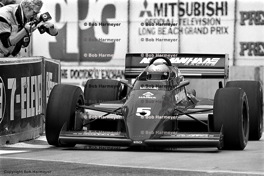 LONG BEACH, CA - APRIL 13: Mario Andretti drives his Lola T86/00/Cosworth in the Toyota Grand Prix of Long Beach on April 13, 1986, on the temporary street circuit in Long Beach, California.