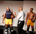 Thaddeus Daniels - Melvin Huffnagle - Lamar Cheston - Layon Gray's Kings of Harlem - a story about the Harlem Rens who were one of the dominant basketball teams of the 1920's and 1930's - had a special show on September 15, 2015 at St. Luke's Theatre, New York City, New York. The play stars Melvin Huffnagle, Thaddeus Daniels, Ade Otukoya, Lamar Cheston, Delano Barbosa, Jeantique Oriol and Layon Gray.  (Photo by Sue Coflin/Max Photos)