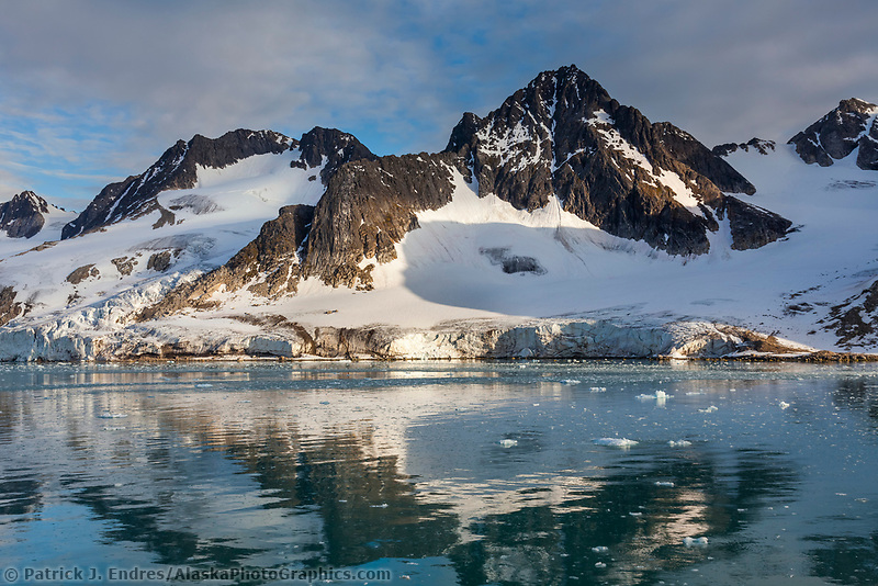 Mountain landscape along the shores of Svalbard, Norway