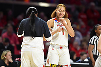 College Park, MD - March 23, 2019: Maryland Terrapins forward Shakira Austin (1) celebrate with a teammate during first round action of game between Radford and Maryland at Xfinity Center in College Park, MD. Maryland defeated Radford 73-51. (Photo by Phil Peters/Media Images International)