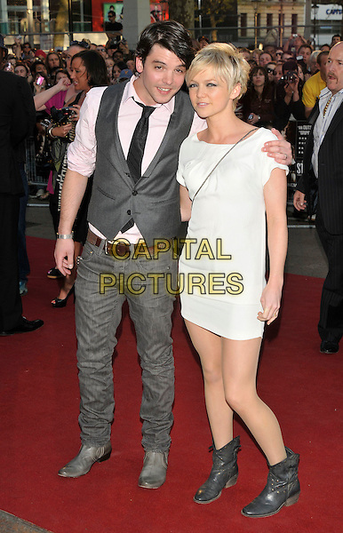 "ANDREW LEE POTTS & HANNAH SPEARITT.Attending ""State of Play"" World Film Premiere at Empire cinema, Leicester Square, London, England, UK, .21st April 2009..full length couple grey gray waistcoat white dress black tie pink shirt jeans black ankle cowboy boots arm around shoulder cross body bag strap .CAP/PL.©Phil Loftus/Capital Pictures"