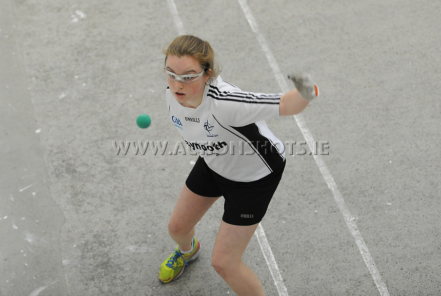 15/10/2017; All-Ireland Handball 60x30 Juvenile Finals; Garryhill Handball Club, Co Carlow;<br /> Girls Under-15 Singles Kildare&rsquo;s Abby Tarrant vs Louise McGinnity of Monaghan.<br /> Photo Credit: actionshots.ie/Tommy Grealy