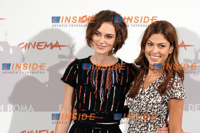 """Keira KNIGHTLEY, Eva MENDES.Photocall """"Last Night"""".Roma 28/10/2010.Festival Internazionale del Film di Roma.Foto Andrea Staccioli Insidefoto"""