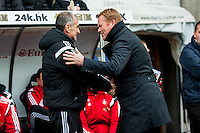 Francesco Guidolin, Manager of Swansea City   and Ronald Koeman Manager of Southampton prior to the Barclays Premier League match between Swansea City and Southampton  played at the Liberty Stadium, Swansea  on February 13th 2016