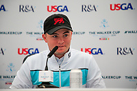 Alex Fitzpatrick (GB&I) during the press conference at the Walker Cup, Royal Liverpool Golf CLub, Hoylake, Cheshire, England. 06/09/2019.<br /> Picture Fran Caffrey / Golffile.ie<br /> <br /> All photo usage must carry mandatory copyright credit (© Golffile | Fran Caffrey)