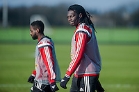 SWANSEA, WALES - JANUARY 28:  Bafetibis Gomis of Swansea City looks at the camera during training on January 28, 2015 in Swansea, Wales.