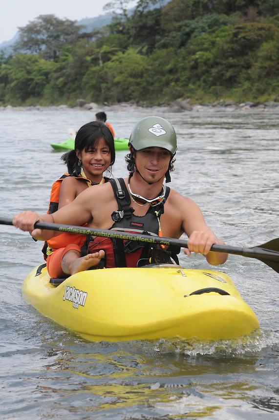 Endless Adventure's River Day on the Rio Quijos near the village Borja in eastern Ecuador.