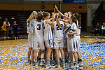 GRAND RAPIDS, MI - MARCH 18: Amherst College raises their winning trophy during the Division III Women's Basketball Championship held at Van Noord Arena on March 18, 2017 in Grand Rapids, Michigan. Amherst College defeated Tufts University 52-29 for the national title. (Photo by Brady Kenniston/NCAA Photos via Getty Images)