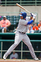 Midland RockHounds outfielder Matt Olson (21) at bat during the Texas League baseball game against the San Antonio Missions on June 28, 2015 at Nelson Wolff Stadium in San Antonio, Texas. The Missions defeated the RockHounds 7-2. (Andrew Woolley/Four Seam Images)