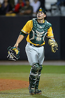 Siena Saints catcher Dan Vasquez (19) during the season opening game against the Central Florida Knights at Jay Bergman Field on February 14, 2014 in Orlando, Florida.  UCF defeated Siena 8-1.  (Mike Janes/Four Seam Images)