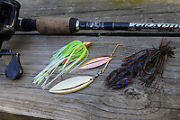 NWA Democrat-Gazette/FLIP PUTTHOFF <br /> Brashers caught several largemouth bass March 18, 2016 with a War Eagle spinner bait (left) and War Eagle jig with a Zoom Critter Craw trailer.