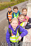 ON THE ROAD: Lyreacrompane national school pupils who took park a walk to school initiative as part of the Green Flag competition on Friday morning, from back to front: Jake Shanahan, Edmund Healy, Lucy O'Regan, Aydah Naughton, Ellie Shanahan.