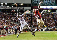TALLAHASSEE, FL 11/19/11-FSU-UVA111911 CH-Florida State's Rodney Smith can't make a catch as the ball floats by Virginia's Chase Minnifield during first half action Saturday at Doak Campbell Stadium in Tallahassee. .COLIN HACKLEY PHOTO