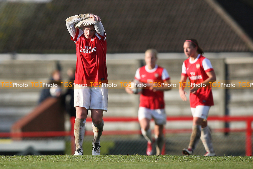 Despair for Kim Little as Rayo score a goal - Arsenal Ladies vs Rayo Vallecano - UEFA Womens Champions League Round of 16, 2nd Leg at Boreham Wood FC - 11/11/10 - MANDATORY CREDIT: Gavin Ellis/TGSPHOTO - Self billing applies where appropriate - Tel: 0845 094 6026