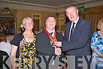KERRY LEGENDS: Three time Olympic medal winner Mark Bolger with his mum Moira and Micheal O Muircheartaigh at the Kerry Supporters Club annual dinner at the Ballygarry House hotel and Spa on Saturday.