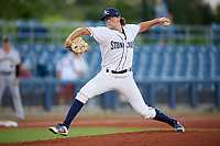 Charlotte Stone Crabs starting pitcher Josh Fleming (27) delivers a pitch during a game against the Bradenton Marauders on August 6, 2018 at Charlotte Sports Park in Port Charlotte, Florida.  Charlotte defeated Bradenton 2-1.  (Mike Janes/Four Seam Images)