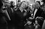 Margaret Thatcher campaigning for the 1979 General Election in Northampton.  Meeting local constituency supporters on a walk about.  In background ( in bow tie) Northampton South Tory MP Michael Morris who is now Baron Naseby of Sandy.